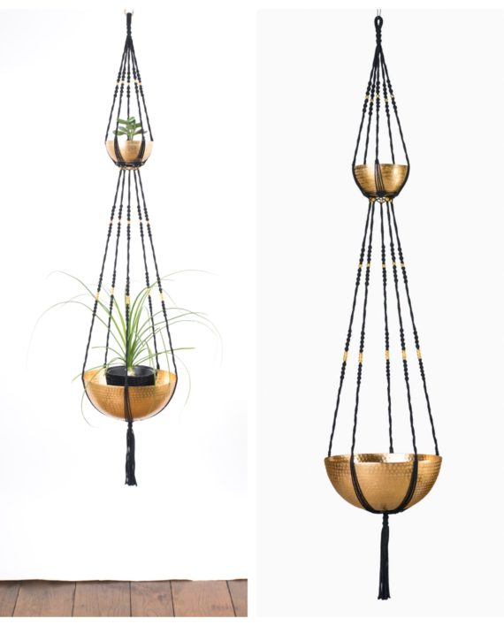 suspension plantes macram 2 tages bymadjo ganesh d co. Black Bedroom Furniture Sets. Home Design Ideas