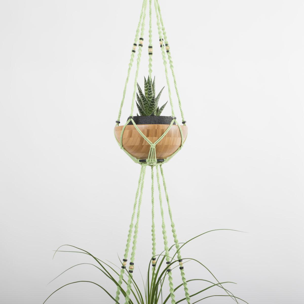 suspension macramé pour 2 plantes