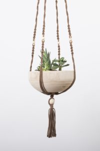 suspension macrame bois