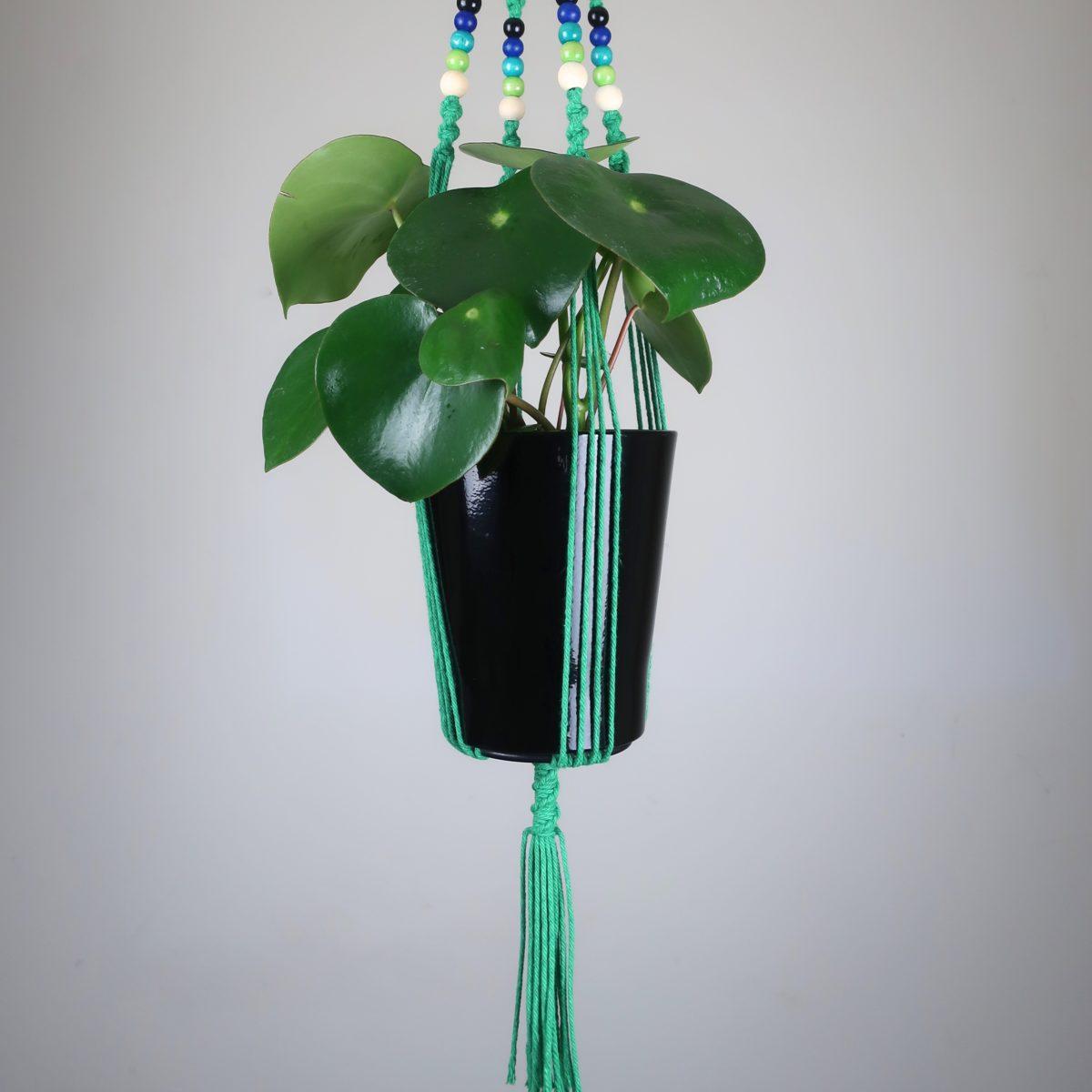 suspension en macramé vert