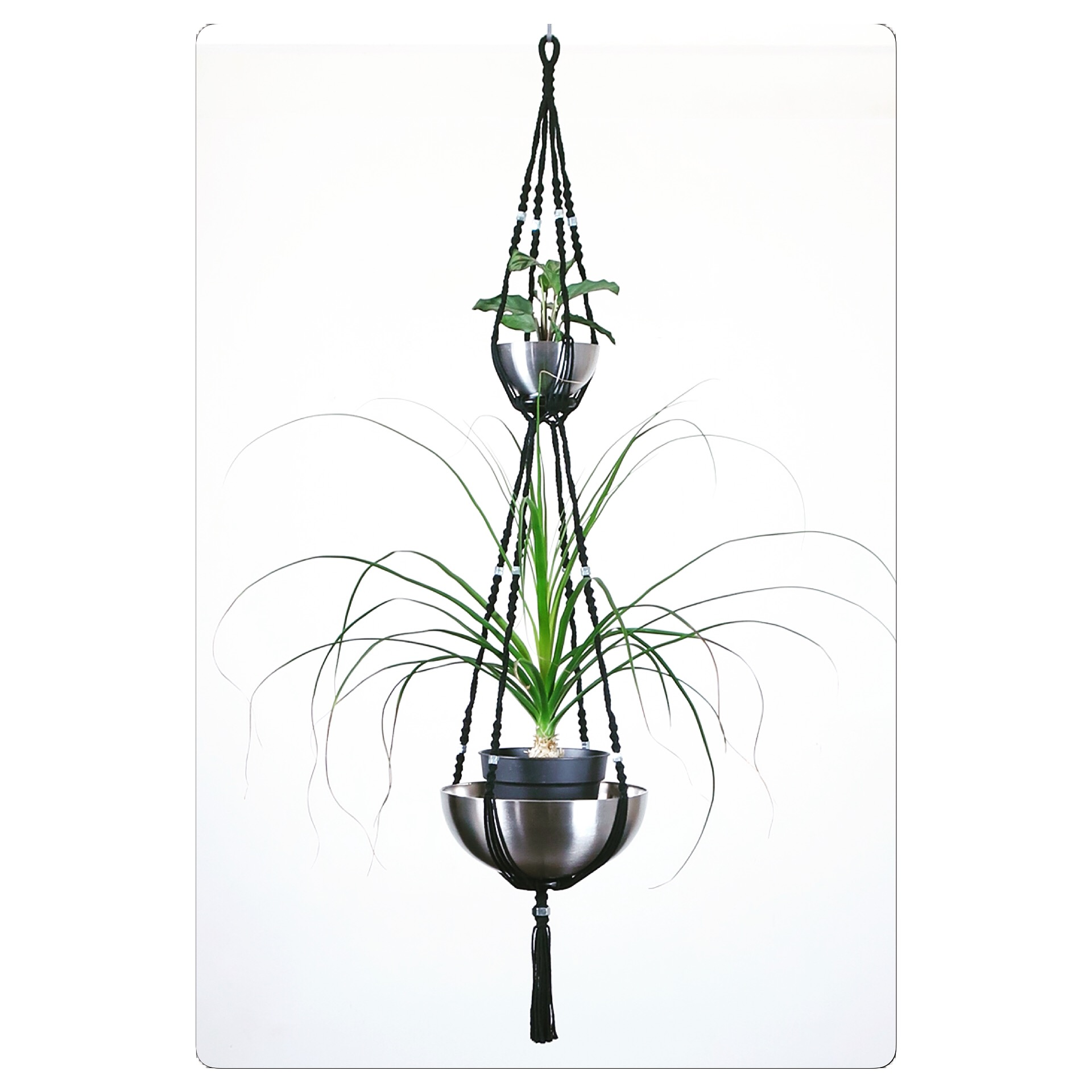 suspension pour plantes en macram 2 tages obra. Black Bedroom Furniture Sets. Home Design Ideas
